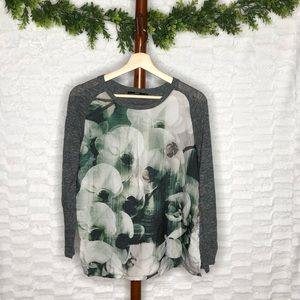 Zara Gray sweater with faux silk floral front